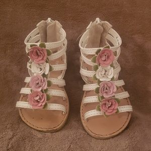 Baby Girl White and Pink Floral Cage Sandals